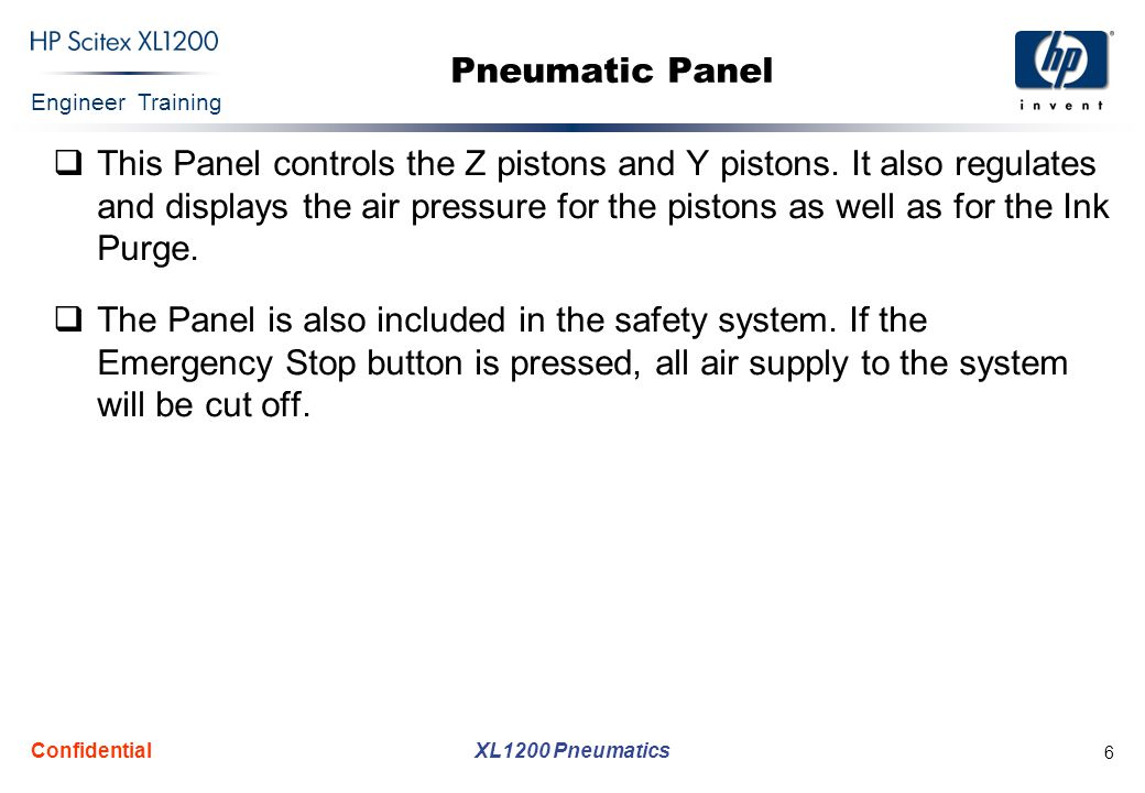 Engineer Training XL1200 Pneumatics Confidential 6 Pneumatic Panel  This Panel controls the Z pistons and Y pistons.