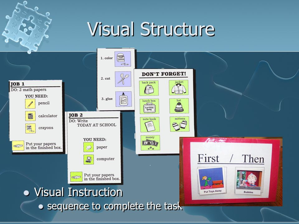Visual Structure Visual Instruction sequence to complete the task Visual Instruction sequence to complete the task
