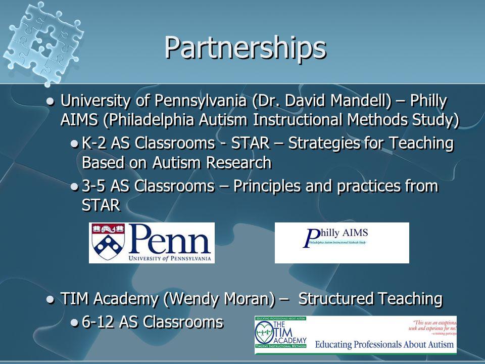 Partnerships University of Pennsylvania (Dr. David Mandell) – Philly AIMS (Philadelphia Autism Instructional Methods Study) K-2 AS Classrooms - STAR –