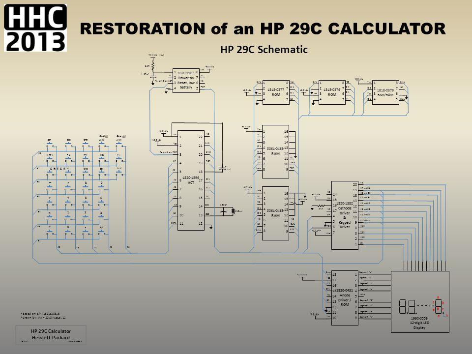 RESTORATION of an HP 29C CALCULATOR HP 29C Schematic