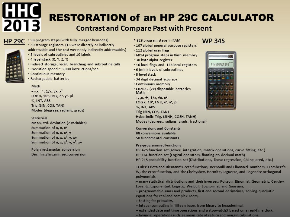 RESTORATION of an HP 29C CALCULATOR 98 program steps (with fully merged keycodes) 30 storage registers. (16 were directly or indirectly addressable an