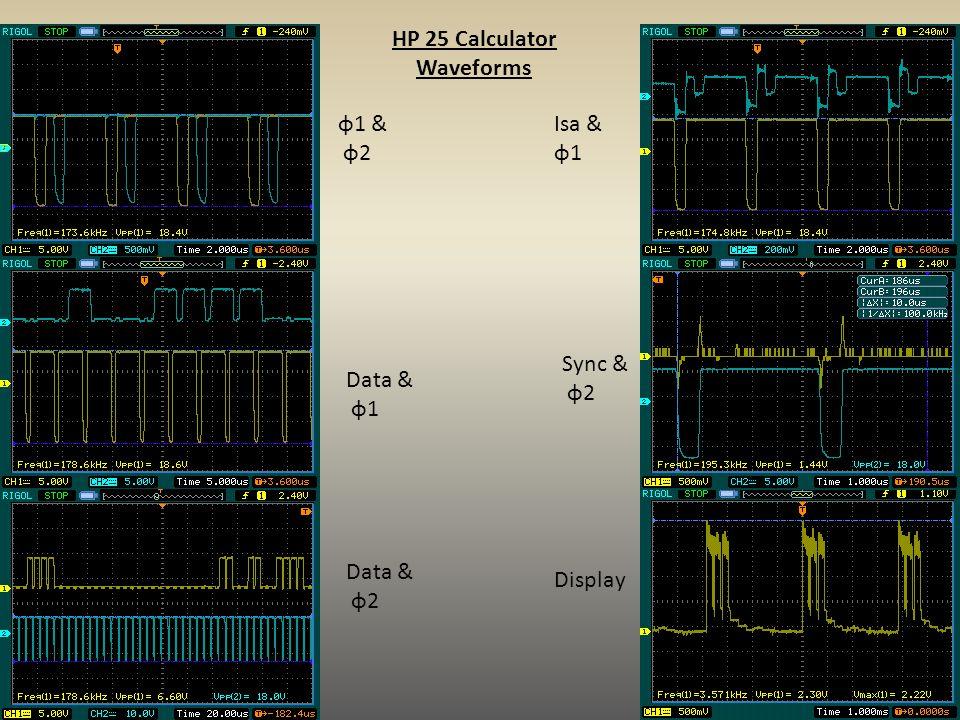 HP 25 Calculator Waveforms ɸ1 & ɸ2 Data & ɸ1 Data & ɸ2 Isa & ɸ1 Sync & ɸ2 Display