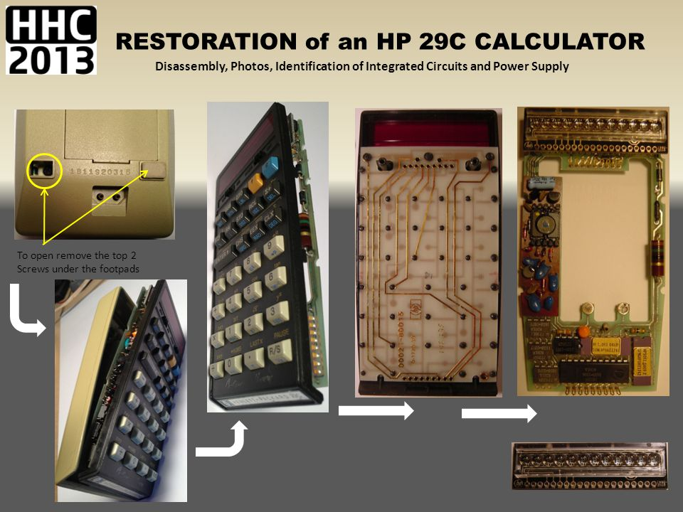 RESTORATION of an HP 29C CALCULATOR Disassembly, Photos, Identification of Integrated Circuits and Power Supply 1 3 2