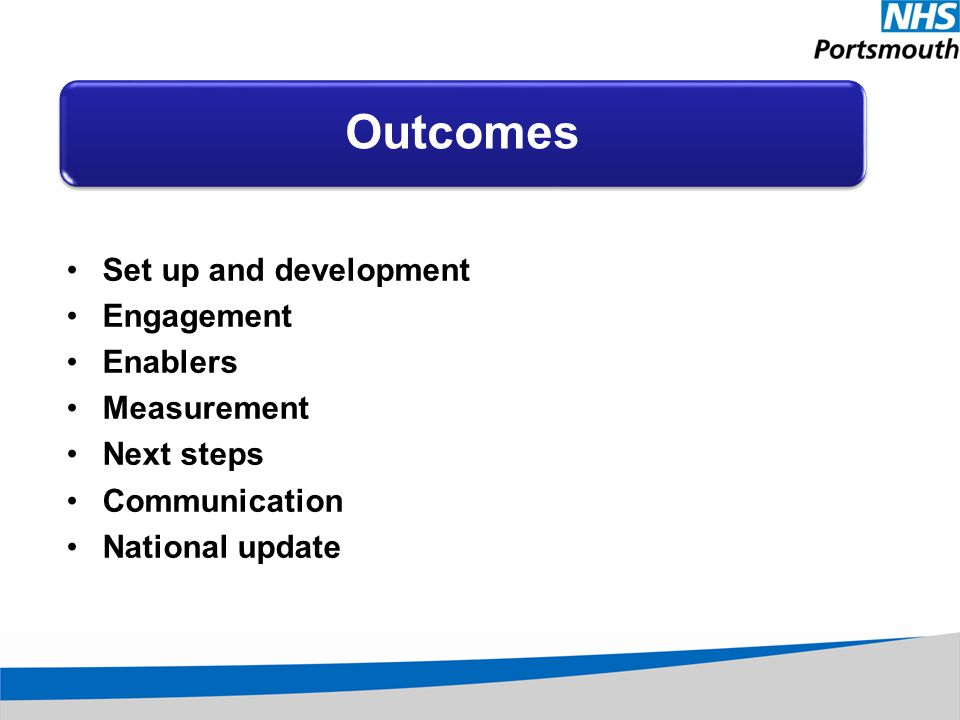 Set up and development Engagement Enablers Measurement Next steps Communication National update Outcomes