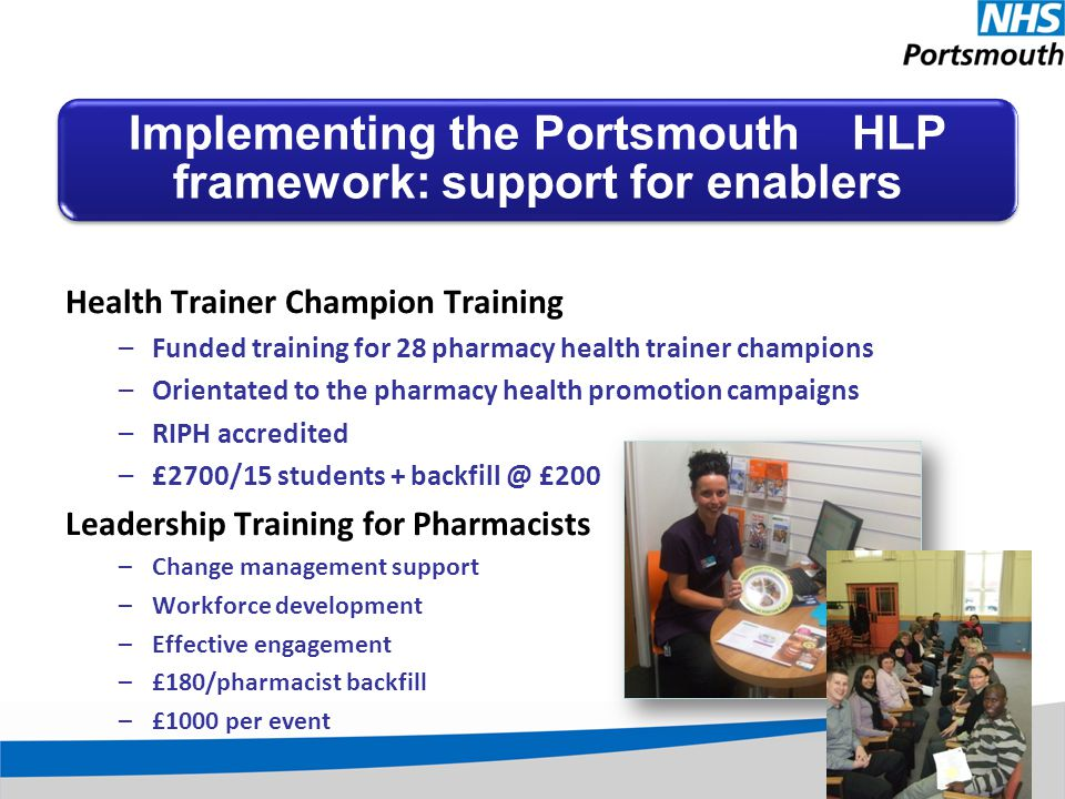 Health Trainer Champion Training –Funded training for 28 pharmacy health trainer champions –Orientated to the pharmacy health promotion campaigns –RIPH accredited –£2700/15 students + backfill @ £200 Leadership Training for Pharmacists –Change management support –Workforce development –Effective engagement –£180/pharmacist backfill –£1000 per event Implementing the Portsmouth HLP framework: support for enablers