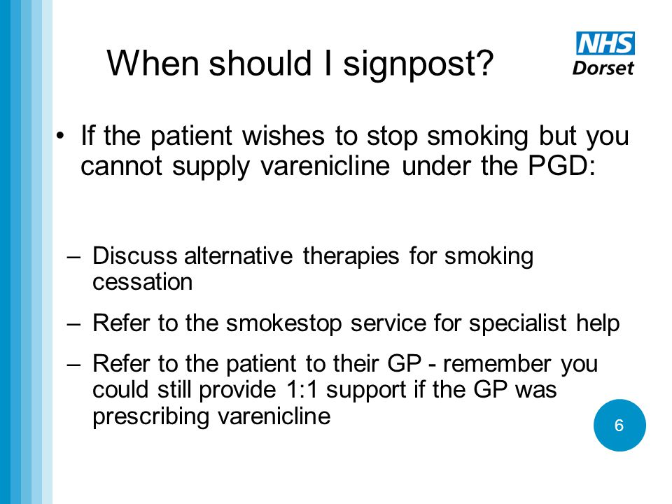 6 When should I signpost? If the patient wishes to stop smoking but you cannot supply varenicline under the PGD: –Discuss alternative therapies for sm