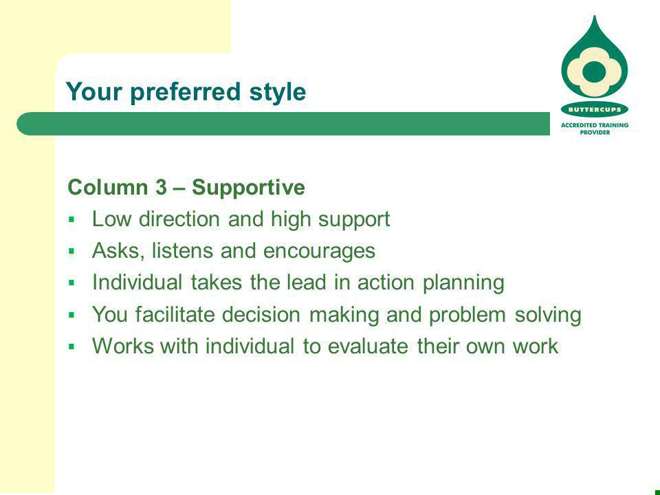 Your preferred style Column 3 – Supportive  Low direction and high support  Asks, listens and encourages  Individual takes the lead in action plann