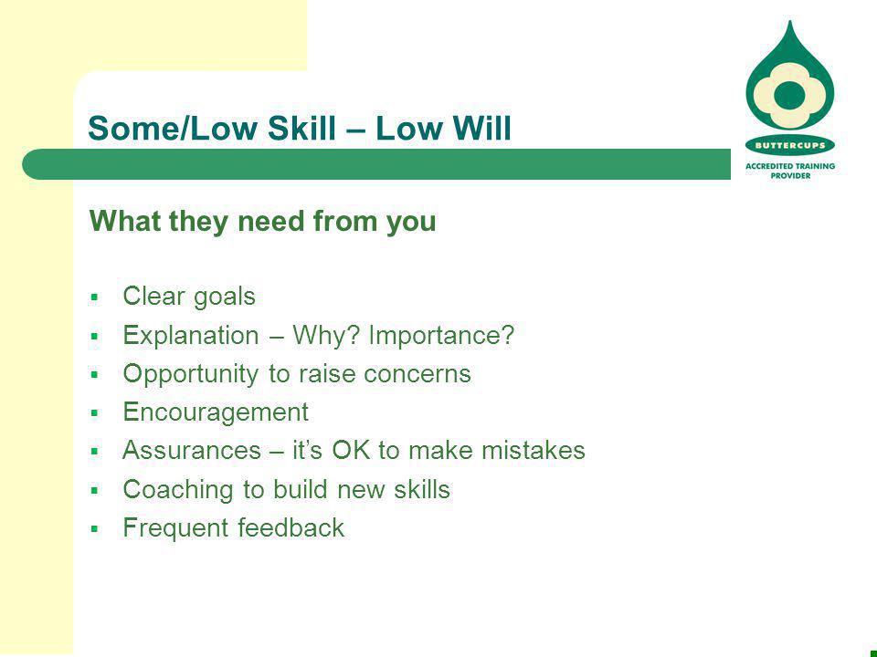 Some/Low Skill – Low Will What they need from you  Clear goals  Explanation – Why? Importance?  Opportunity to raise concerns  Encouragement  Ass