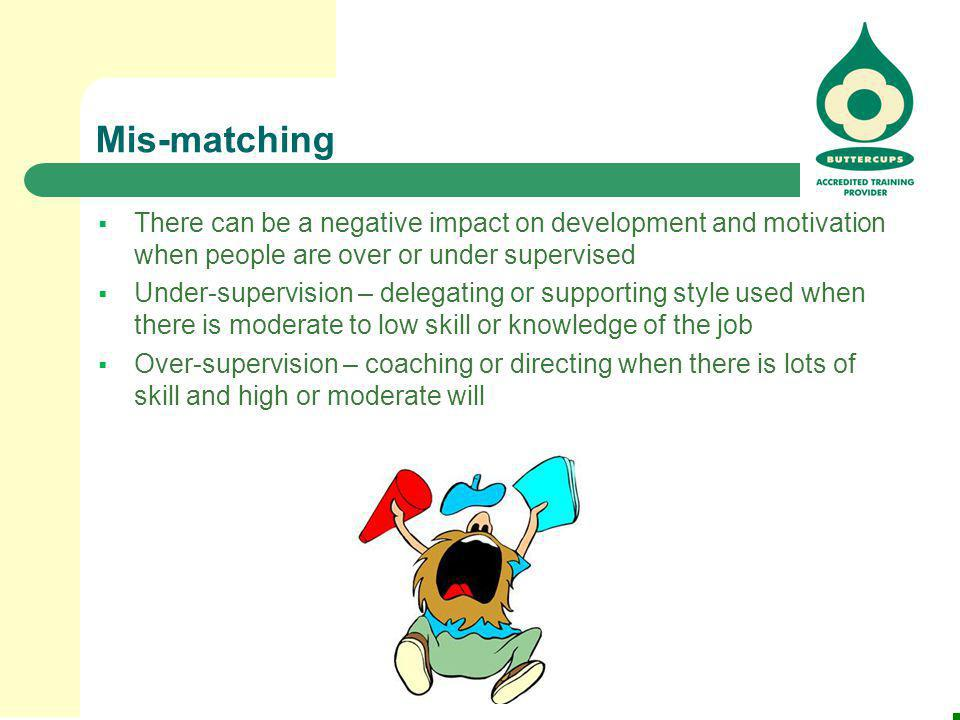 Mis-matching  There can be a negative impact on development and motivation when people are over or under supervised  Under-supervision – delegating