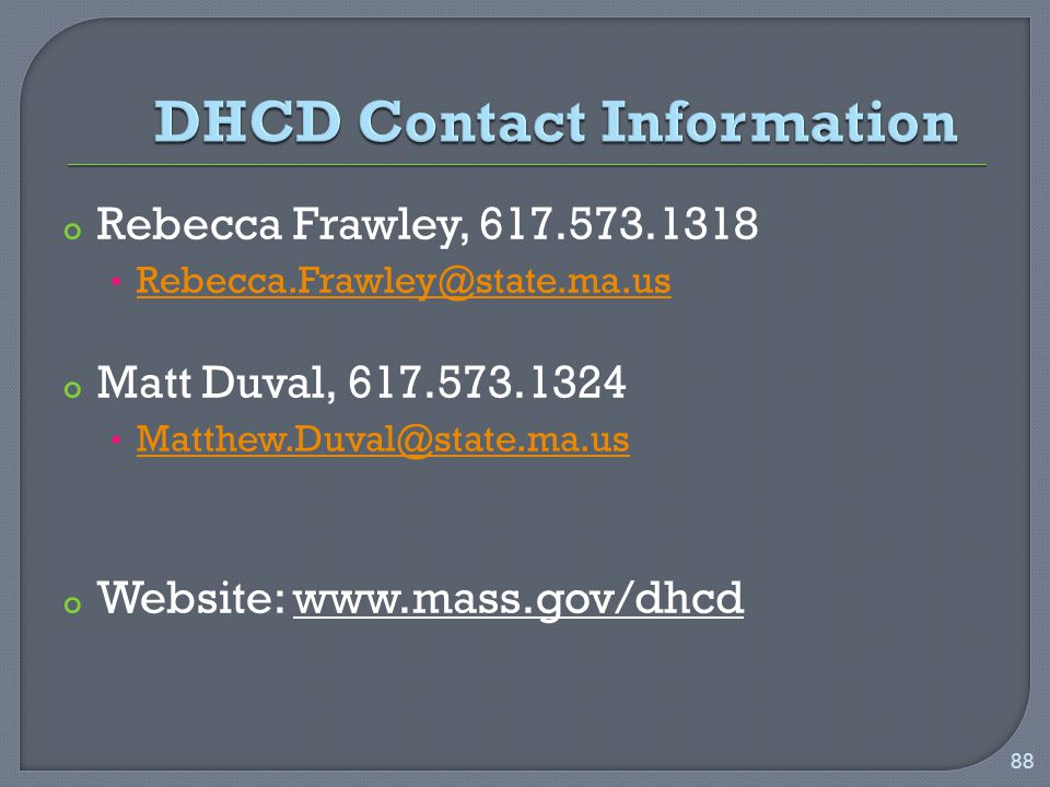 o Rebecca Frawley, o Matt Duval, o Website:   88