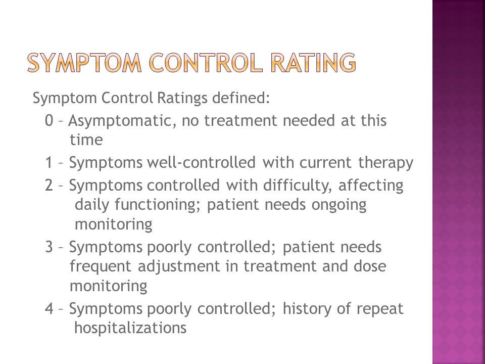 Symptom Control Ratings defined: 0 – Asymptomatic, no treatment needed at this time 1 – Symptoms well-controlled with current therapy 2 – Symptoms controlled with difficulty, affecting daily functioning; patient needs ongoing monitoring 3 – Symptoms poorly controlled; patient needs frequent adjustment in treatment and dose monitoring 4 – Symptoms poorly controlled; history of repeat hospitalizations