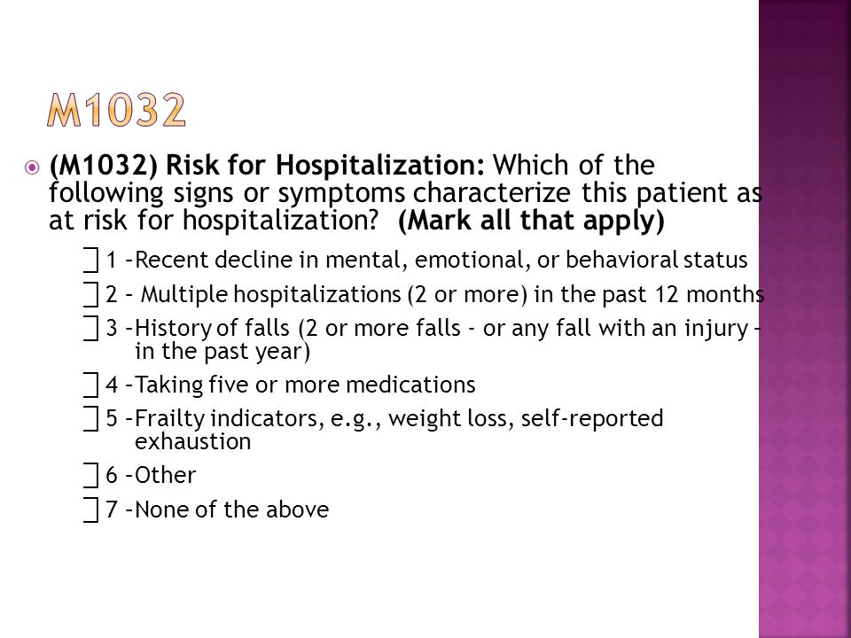  (M1032) Risk for Hospitalization: Which of the following signs or symptoms characterize this patient as at risk for hospitalization.