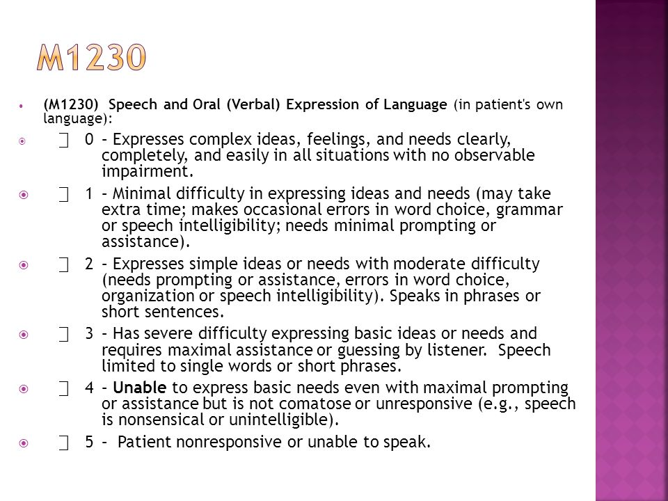 (M1230) Speech and Oral (Verbal) Expression of Language (in patient s own language):  ⃞ 0– Expresses complex ideas, feelings, and needs clearly, completely, and easily in all situations with no observable impairment.