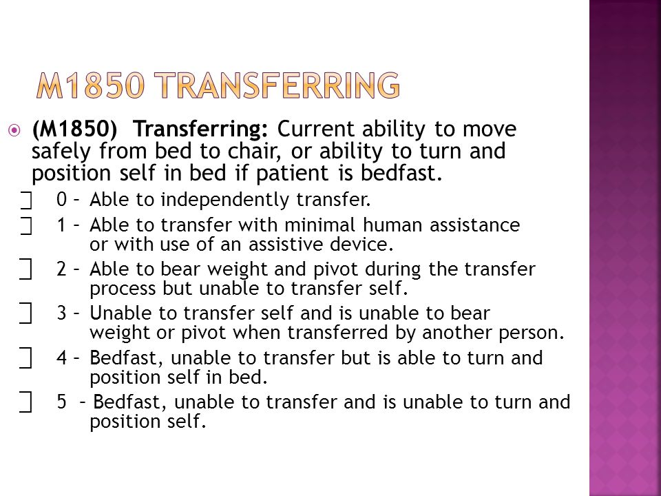  (M1850) Transferring: Current ability to move safely from bed to chair, or ability to turn and position self in bed if patient is bedfast.