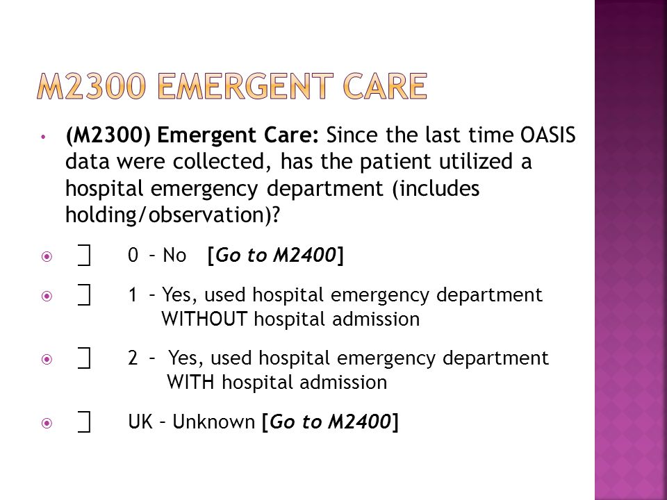 (M2300) Emergent Care: Since the last time OASIS data were collected, has the patient utilized a hospital emergency department (includes holding/observation).