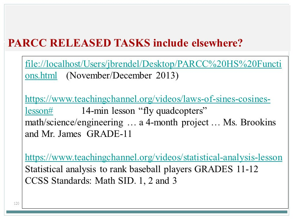 120 PARCC RELEASED TASKS include elsewhere.