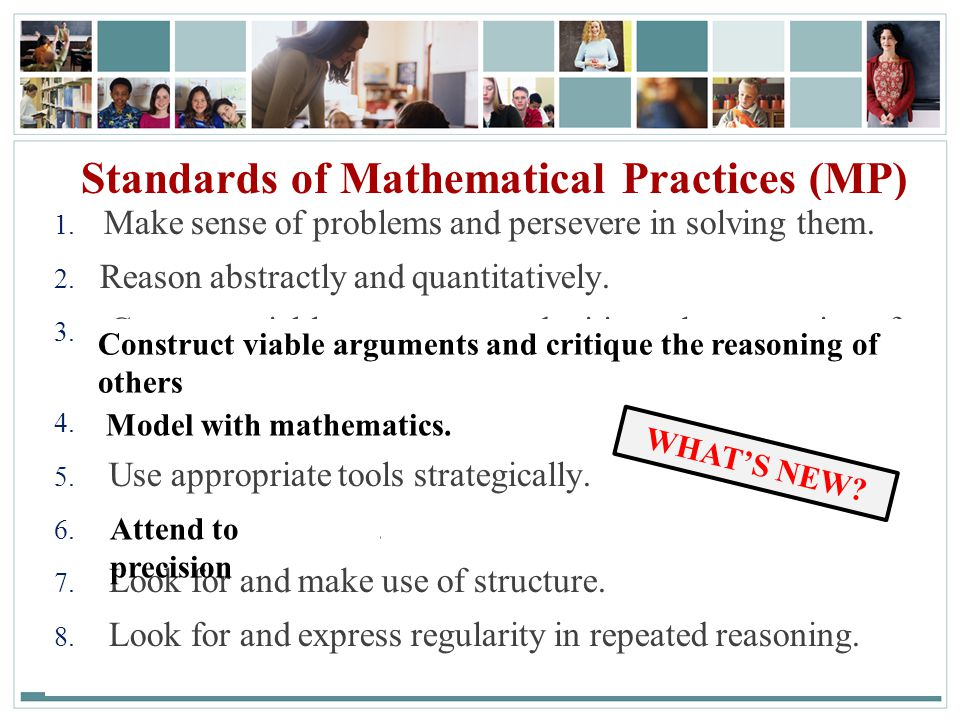 22 Standards of Mathematical Practices (MP) 1.