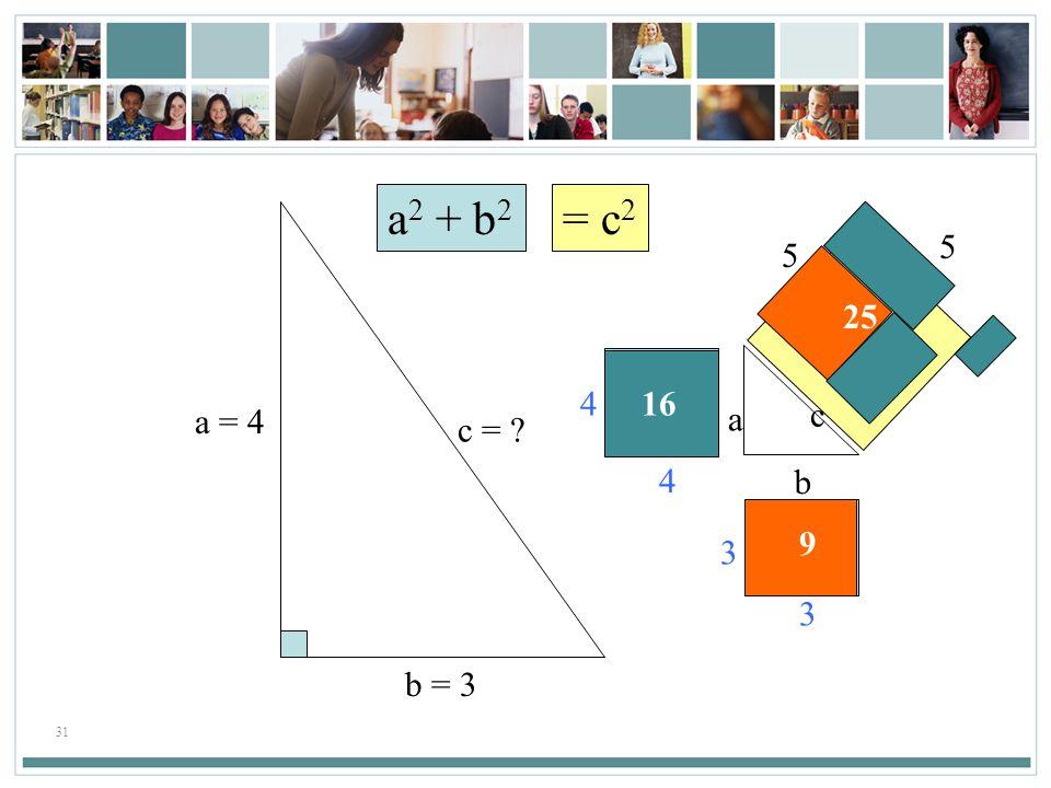 31 a 2 + b 2 = c 2 a b c 3 3 9 416 4 5 5 25 a = 4 b = 3 c = ?