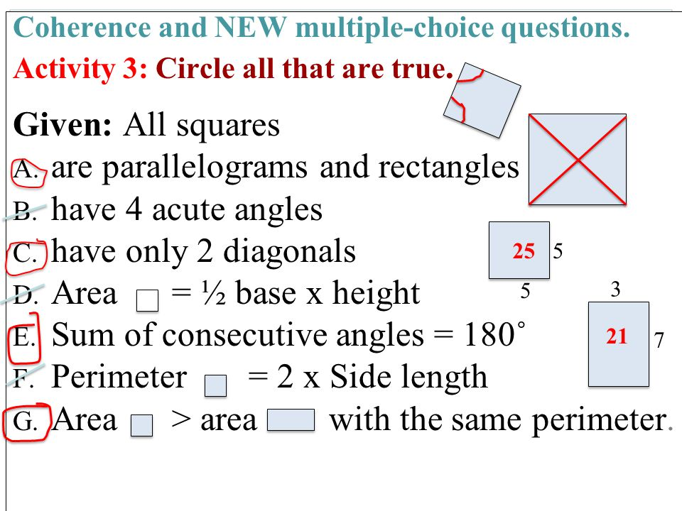 49 Coherence and NEW multiple-choice questions.Activity 3: Circle all that are true.