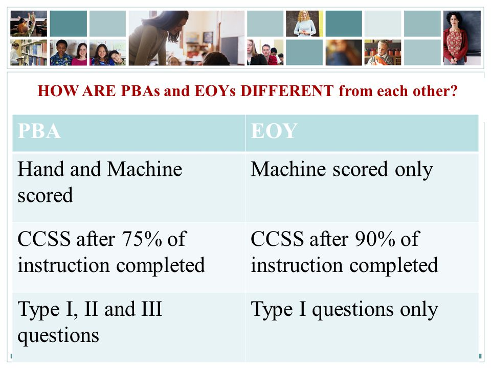 7SA MS/HS– PD Session 3| April 4., 2011 HOW ARE PBAs and EOYs DIFFERENT from each other.