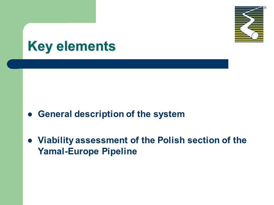 Key elements General description of the system Viability assessment of the Polish section of the Yamal-Europe Pipeline