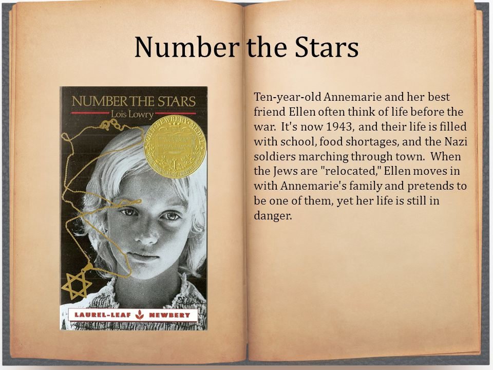 Number the Stars Ten-year-old Annemarie and her best friend Ellen often think of life before the war. It's now 1943, and their life is filled with sch