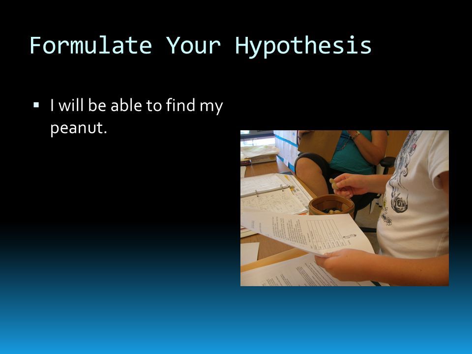 Formulate Your Hypothesis  I will be able to find my peanut.