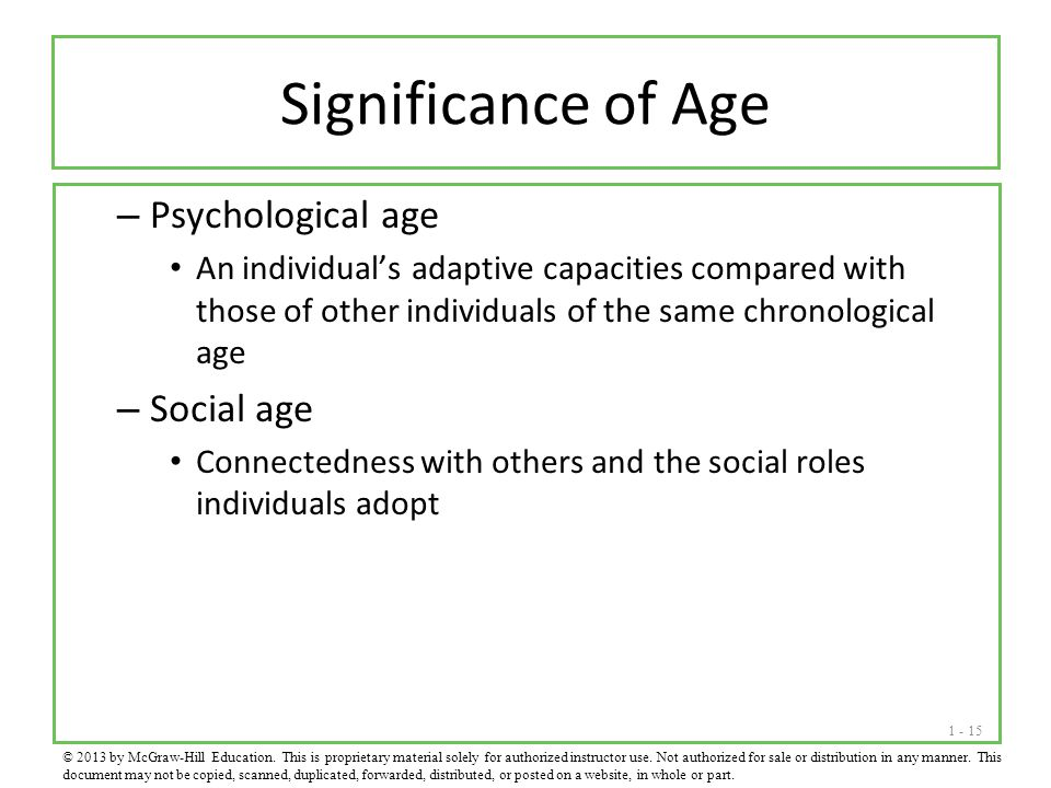 1 - 15 Significance of Age – Psychological age An individual's adaptive capacities compared with those of other individuals of the same chronological