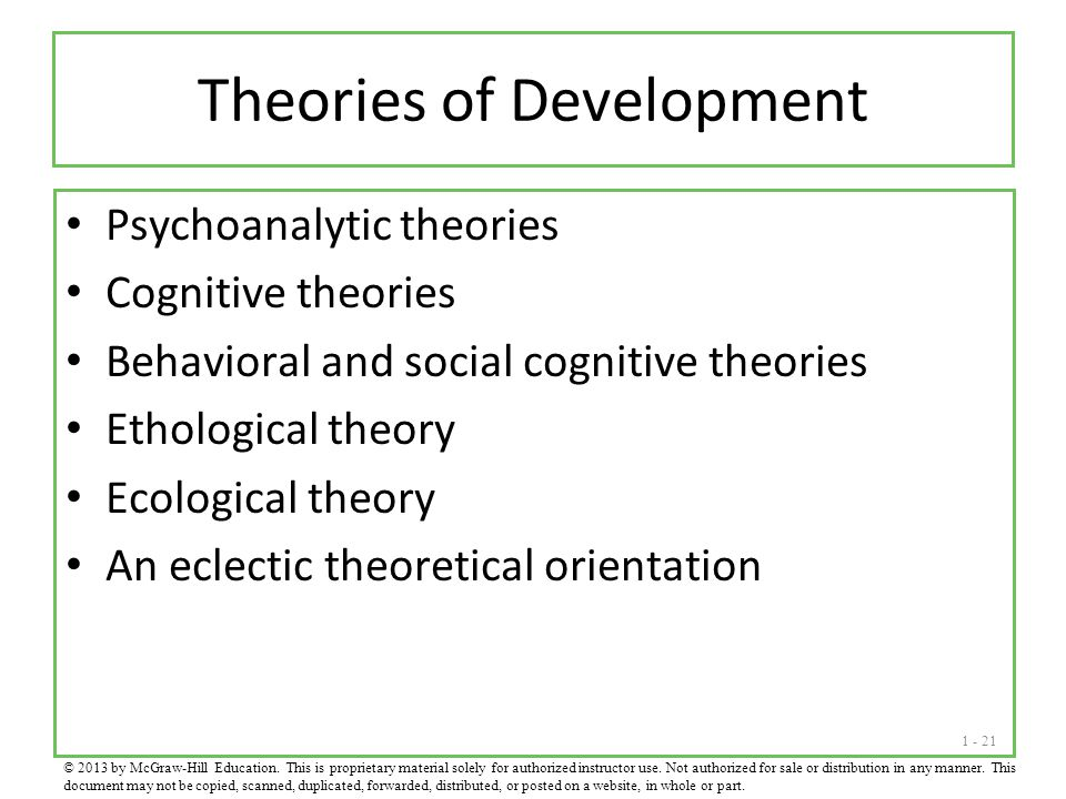 1 - 21 Theories of Development Psychoanalytic theories Cognitive theories Behavioral and social cognitive theories Ethological theory Ecological theor