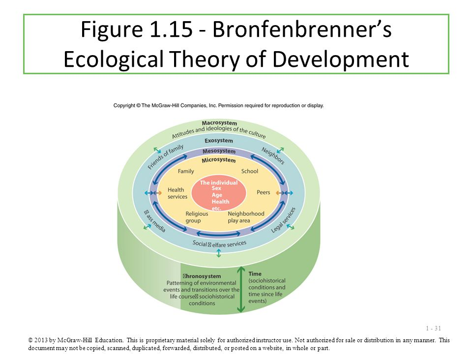 1 - 31 Figure 1.15 - Bronfenbrenner's Ecological Theory of Development © 2013 by McGraw-Hill Education. This is proprietary material solely for author