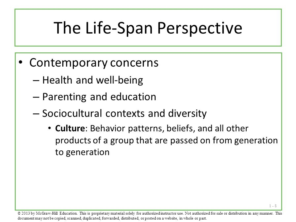 1 - 8 The Life-Span Perspective Contemporary concerns – Health and well-being – Parenting and education – Sociocultural contexts and diversity Culture