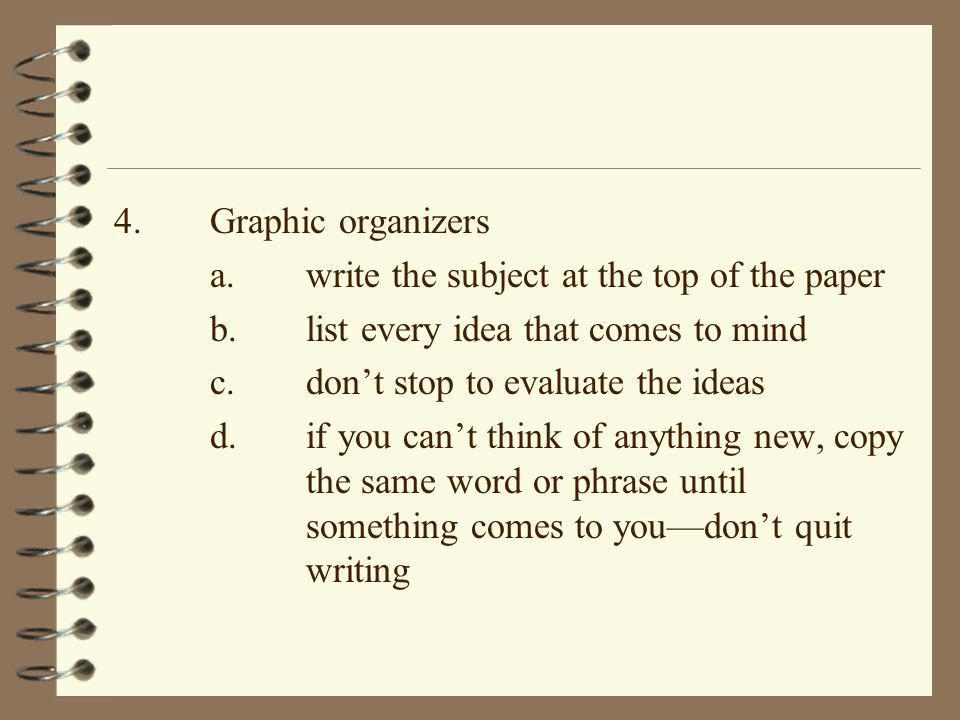 4.Graphic organizers a.write the subject at the top of the paper b.list every idea that comes to mind c.don't stop to evaluate the ideas d.if you can'