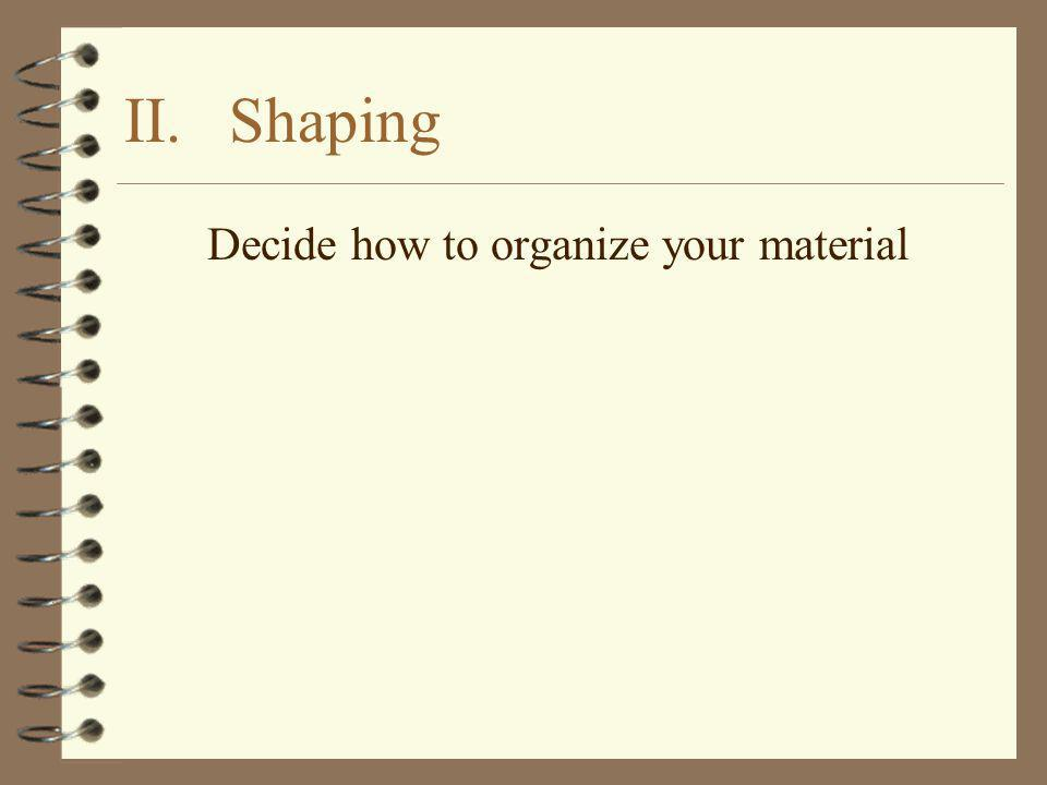II.Shaping Decide how to organize your material