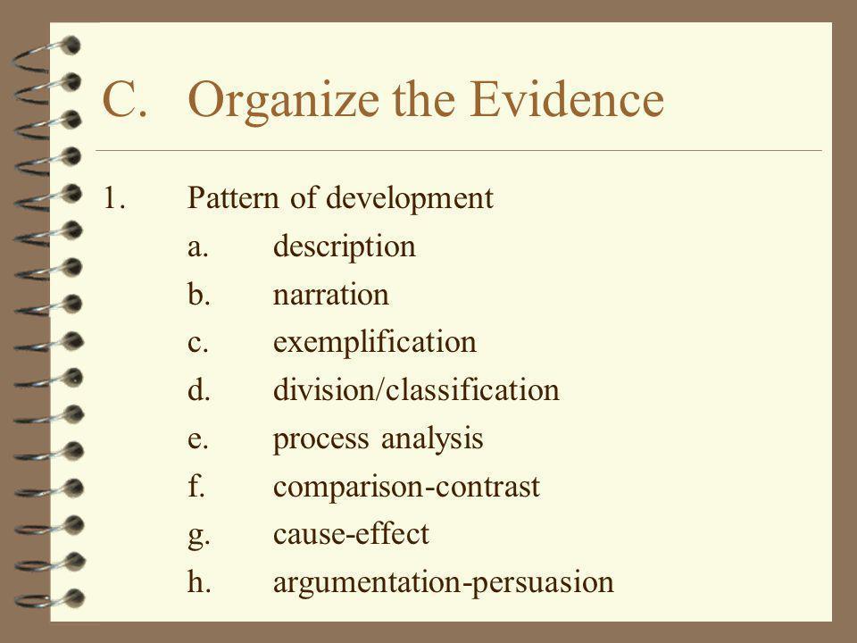 1.Pattern of development a.description b.narration c.exemplification d.division/classification e.process analysis f.comparison-contrast g.cause-effect
