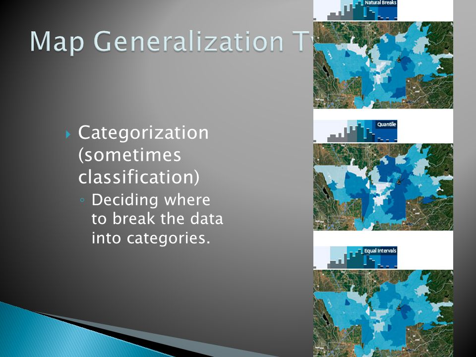  Categorization (sometimes classification) ◦ Deciding where to break the data into categories.