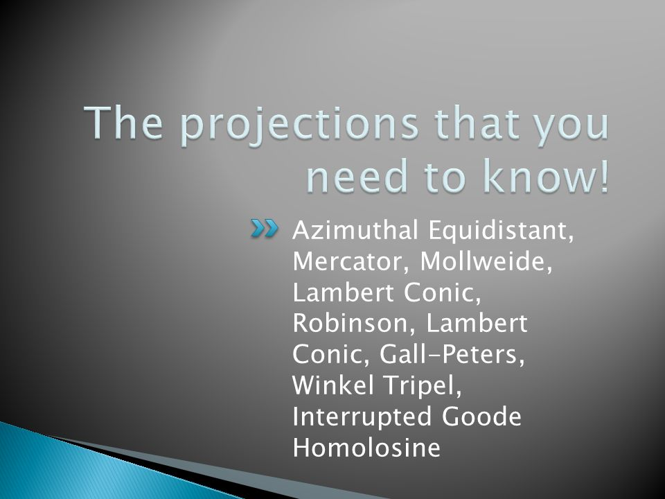 Azimuthal Equidistant, Mercator, Mollweide, Lambert Conic, Robinson, Lambert Conic, Gall-Peters, Winkel Tripel, Interrupted Goode Homolosine