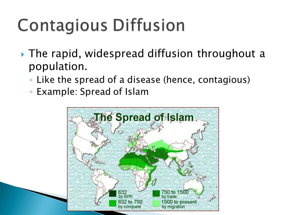  The rapid, widespread diffusion throughout a population. ◦ Like the spread of a disease (hence, contagious) ◦ Example: Spread of Islam