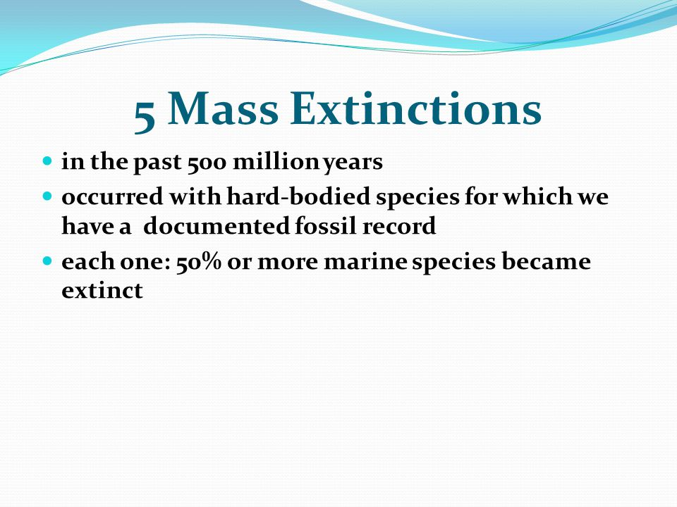in the past 500 million years occurred with hard-bodied species for which we have a documented fossil record each one: 50% or more marine species beca