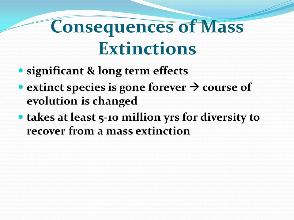 Consequences of Mass Extinctions significant & long term effects extinct species is gone forever  course of evolution is changed takes at least 5-10