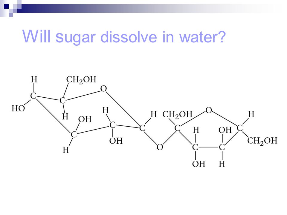 Will s ugar dissolve in water?