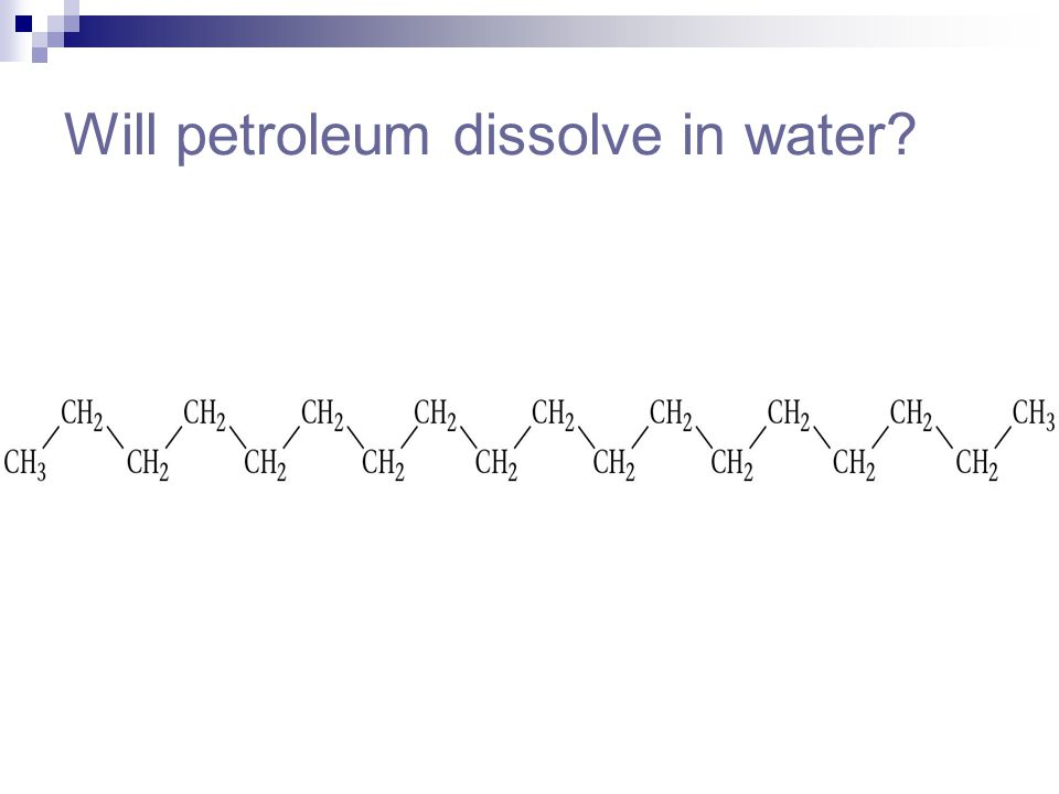 Will petroleum dissolve in water?