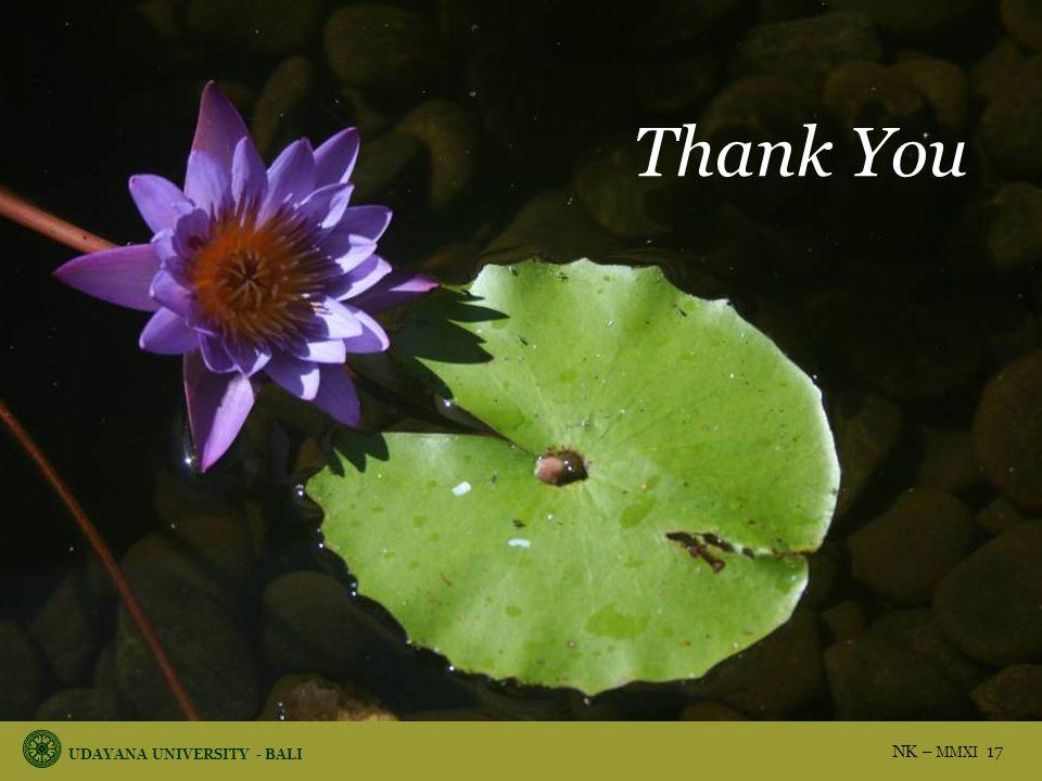 UDAYANA UNIVERSITY - BALI NK – MMXI 17 Thank You