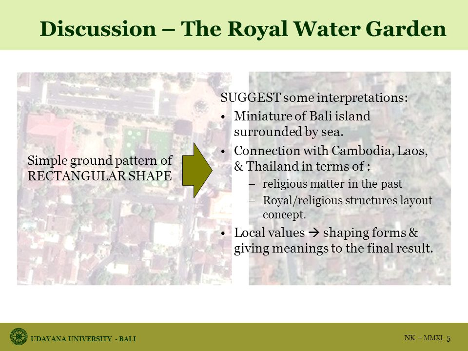 UDAYANA UNIVERSITY - BALI NK – MMXI 16 Conclusion 1.The royal floating pavilion at Klungkung has outward orientation because it serves as the royals symbol, both profane and sacred.