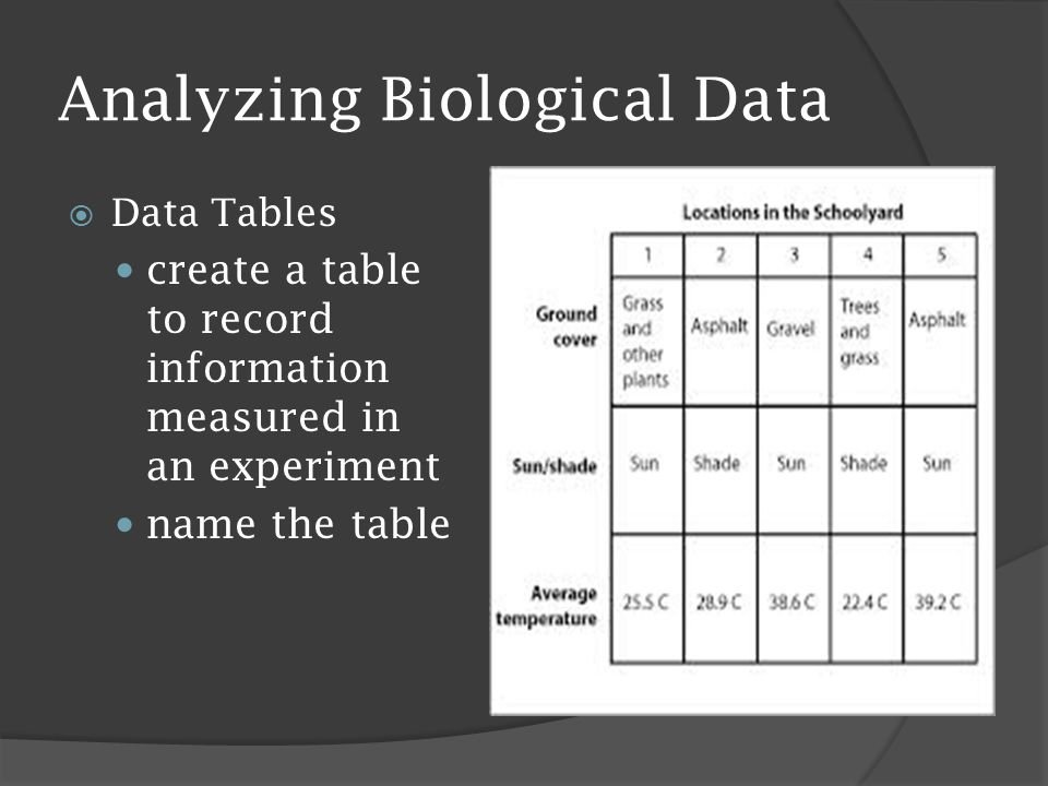 Analyzing Biological Data  Data Tables create a table to record information measured in an experiment name the table