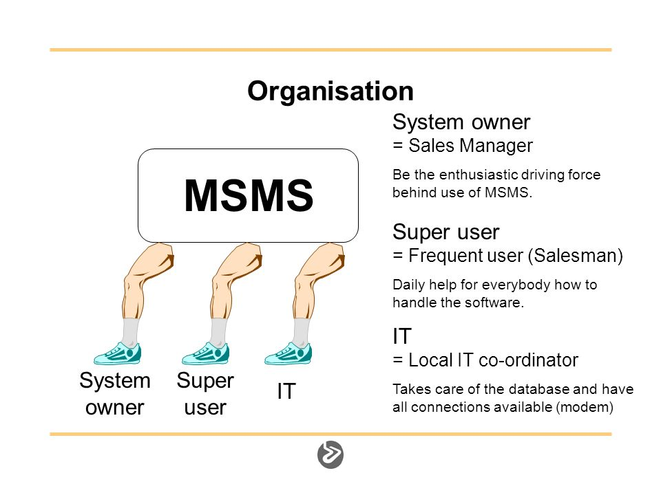 Organisation MSMS System owner System owner = Sales Manager Be the enthusiastic driving force behind use of MSMS.
