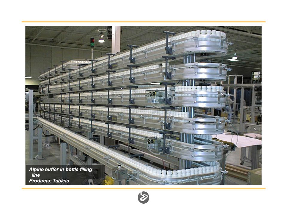 Alpine buffer in bottle-filling line Products: Tablets