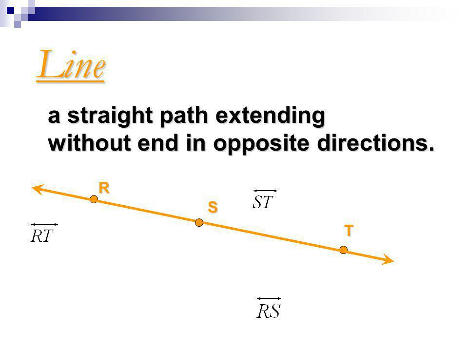 Line a straight path extending without end in opposite directions. R T S