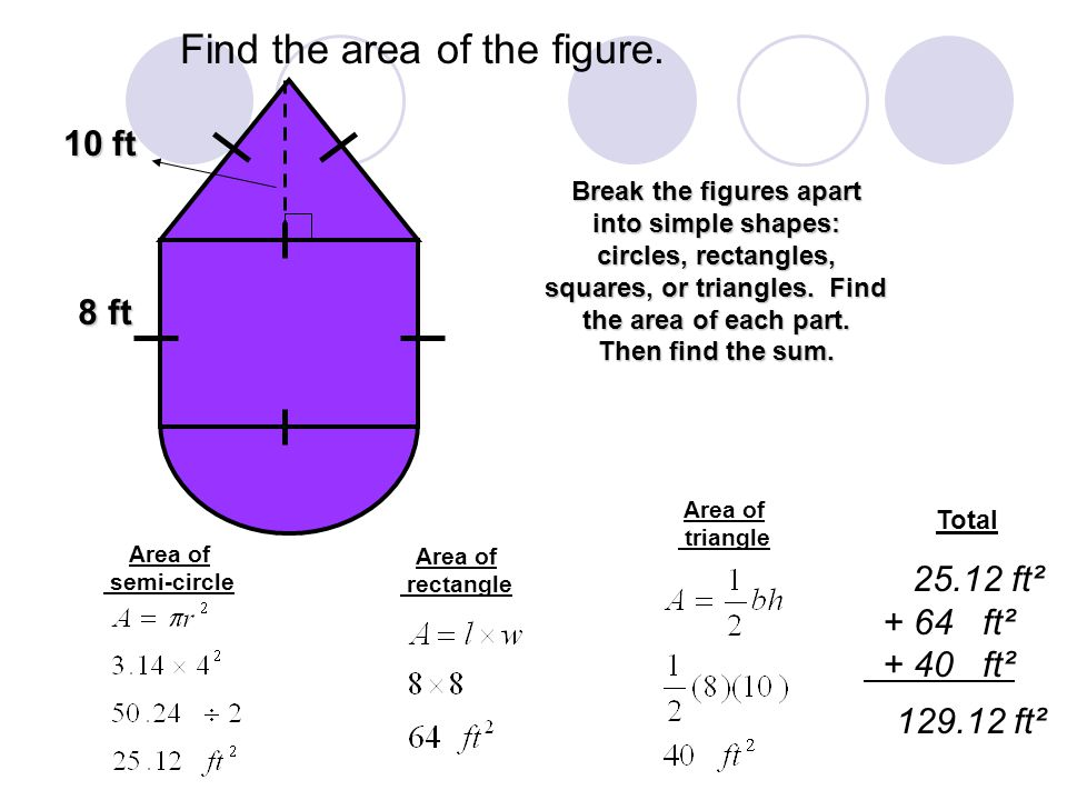 Find the area of the figure. 8 ft Break the figures apart into simple shapes: circles, rectangles, squares, or triangles. Find the area of each part.
