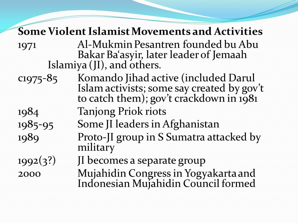 Some Violent Islamist Movements and Activities 1971Al-Mukmin Pesantren founded bu Abu Bakar Ba'asyir, later leader of Jemaah Islamiya (JI), and others.