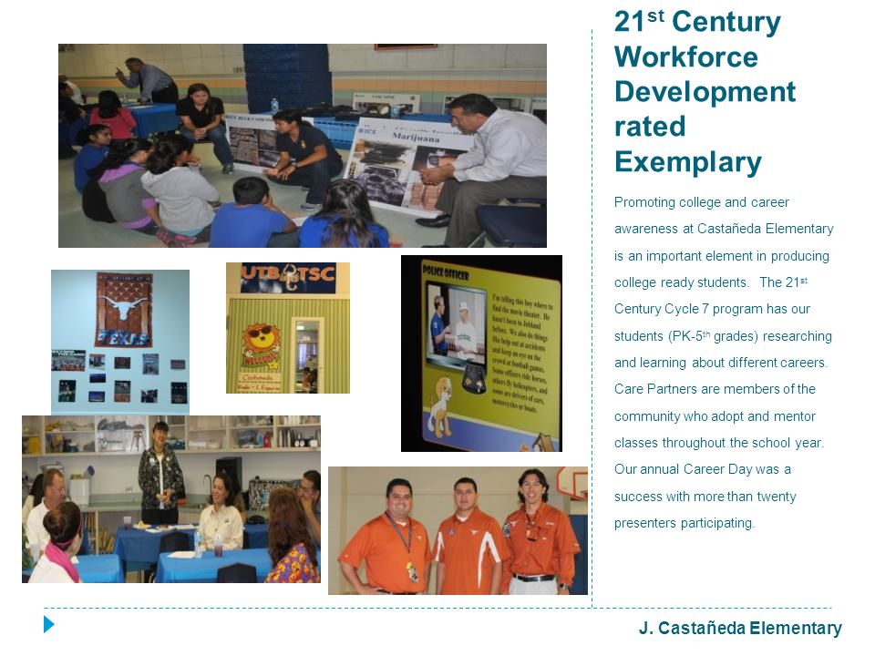 21 st Century Workforce Development rated Exemplary Promoting college and career awareness at Castañeda Elementary is an important element in producing college ready students.